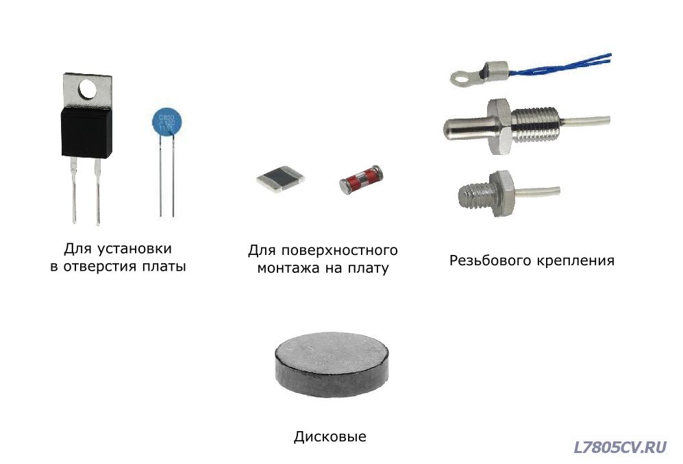 Классификация терморезисторов по исполнению